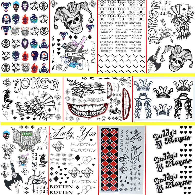 11 pcs/set 2017 STICKER Suicide Squad Joker Harley Quinn Small Ugly Rick Flag Kobe Stephen Curry poster 30*20cm Tattoo Stickers suicide squad harley quinn harleen quinzel high quality pu short wallet purse with button
