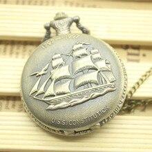 Vintage  Bronze Quartz Pocket Watch Sailing Boat watch Steampunk Men Women Necklace Pendant Clock Gifts