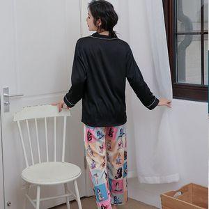 Image 4 - 2019 スタイリッシュな女性パジャマセットシルクサテンパジャマ春夏長袖パンツツーピースのスーツのホームウェアパジャマファム P 1032