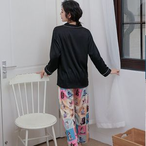 Image 4 - 2019 Stylish Women Pajama Set Silk Satin Sleepwear Spring Summer Long Sleeve Pants Two piece Suit Home Wear Pyjama Femme P 1032