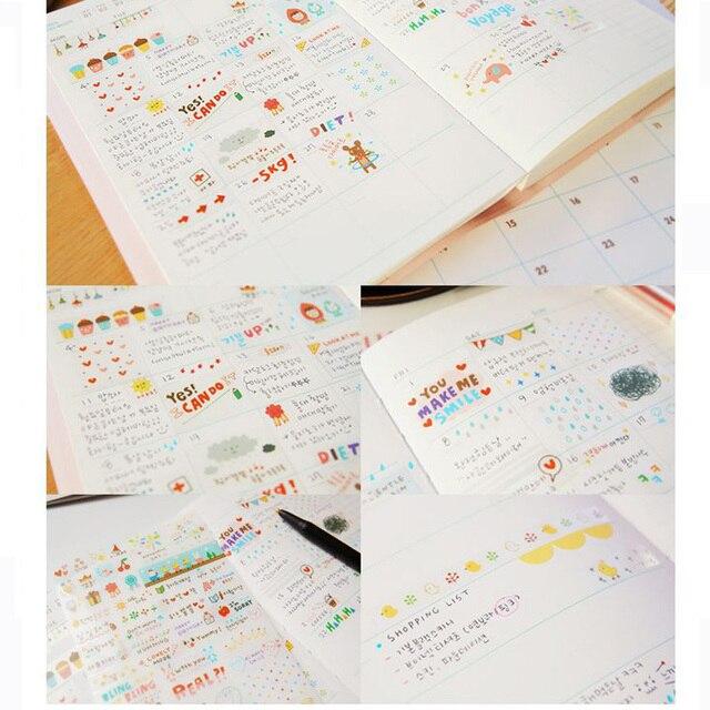 6 Sheet Kawaii Cute Paper Diary Scrapbook Notebook Stickers Wall Switch Refrigerator Decor Cartoon Decoration