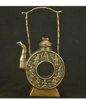 decoration brass factory Pure Brass Antique Elaborate hollow round ancient Chinese classical copper eight immortals teapot