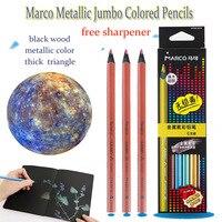 Lapis Marco Fine Art Metallic Jumbo Colored Pencils Soft Core With Pencil Sharpener Wooden Oil Color