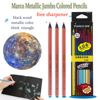 Lapis Marco Fine Art Metallic Jumbo Colored Pencils Soft Core With Pencil Sharpener Wooden Oil Color