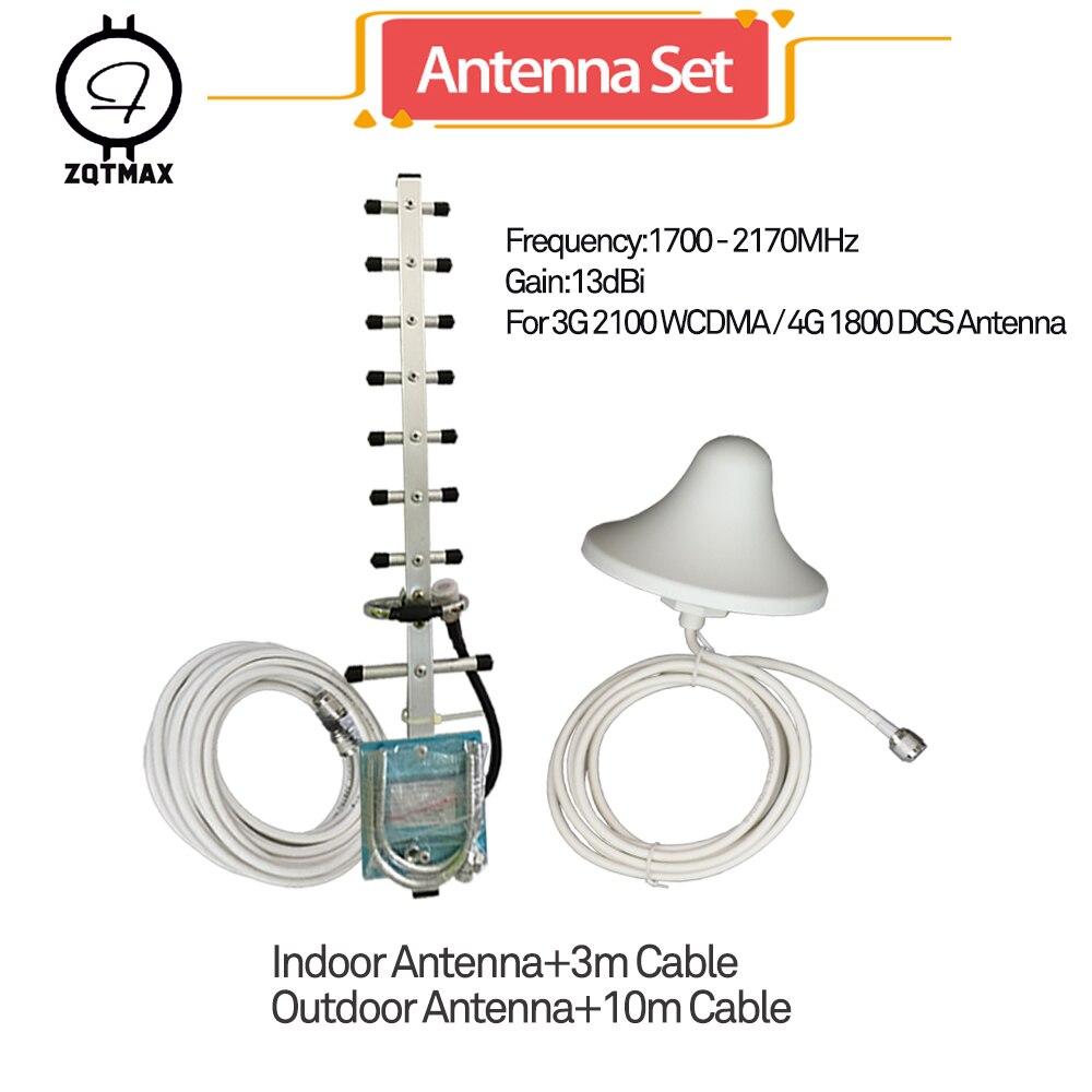 Antenne ZQTMAX Yagi + antenne omni pour amplificateur de signal de téléphone portable répéteur 2g 4g 1800 mhz, amplificateur de signal d'appoint 3g 2100 1 ensemble