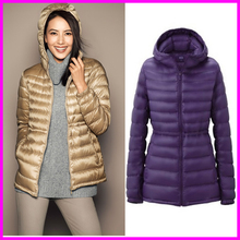 2016 Winter Ultra Light Duck Down Jacket Womens Brand White Duck Down Parka Hooded Plus Size Coats