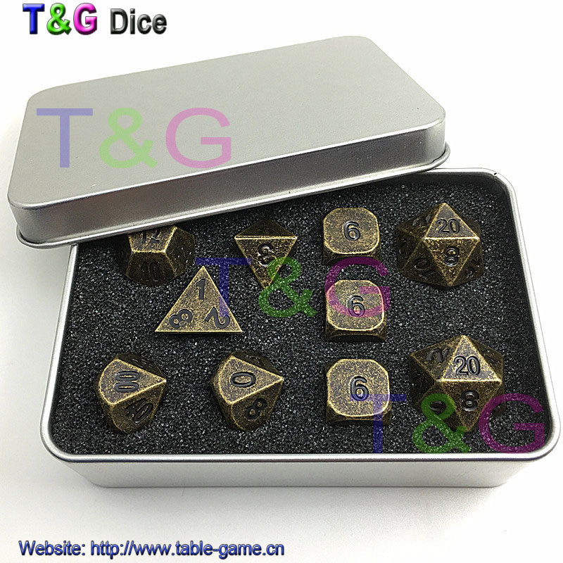 ФОТО Set of 10 Old Gold Copper Colored Polyhedral Metal Dice 16mm d6, RPG or dnd Dice