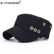 BUTTERMERE Black Men Military Hat With Buttons Spring Summer Vintage Captains Hat Male Casual Cotton Baseball Caps Flat Top