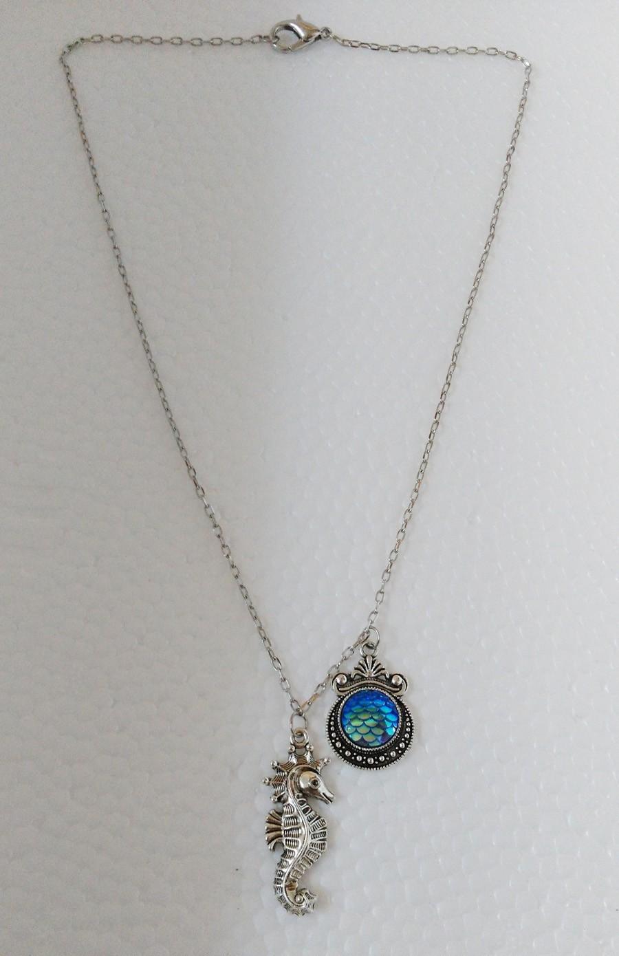 Art Deco Necklace ~ White Enamel Dragon Scales  Mermaid Tail Print Pendant Necklace
