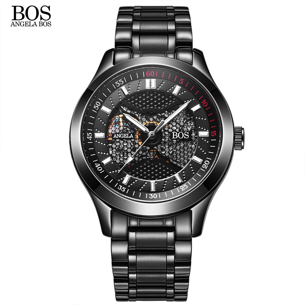 ANGELA BOS Luxury Brand Black Mechanical Skeleton Self Wind Automatic Men Watch Waterproof Stainless Steel Leather Sport Watches shenhua brand black dial skeleton mechanical watch stainless steel strap male fashion clock automatic self wind wrist watches