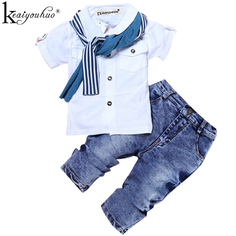 Boys Clothes Summer Children Clothing Sets Costumes For Kids Clothes Set Toddler T-shirt+Jeans Sport Suits Wear 2 3 4 5 6 7 Year summer baby boy clothing set jeans pants white gray t shirt children clothes 3 pieces sets for boys suit outfits 1 2 3 4 5 6 y