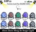 New Seller 10pcs /lots   7x12w led Par lights  RGBW 4in1 flat par led dmx512  disco lights professional stage dj equipment