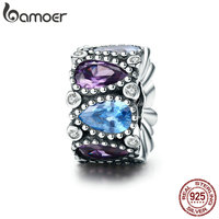 BAMOER Popular Genuine 100 925 Sterling Silver Water Drop AAA Zircon Spacer Beads Fit Charm Bracelet
