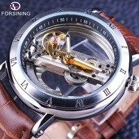 Forsining 2017 Minimalism Design Silver Steel Waterproof Steampunk Wrist Watch Mens Automatic Skeleton Watches Top Brand