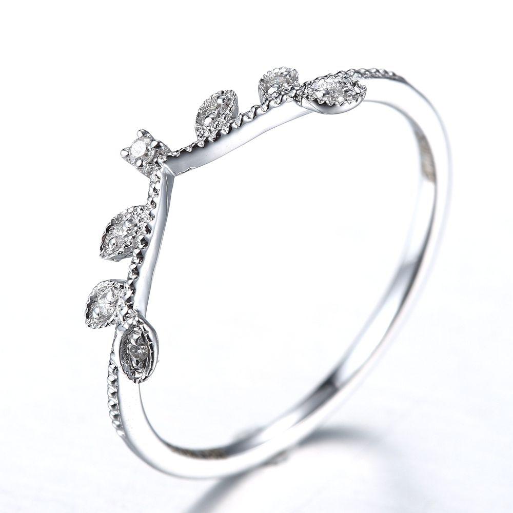 Poročni prstan Art Deco Solid 10k iz belega zlata iz naravnega diamanta