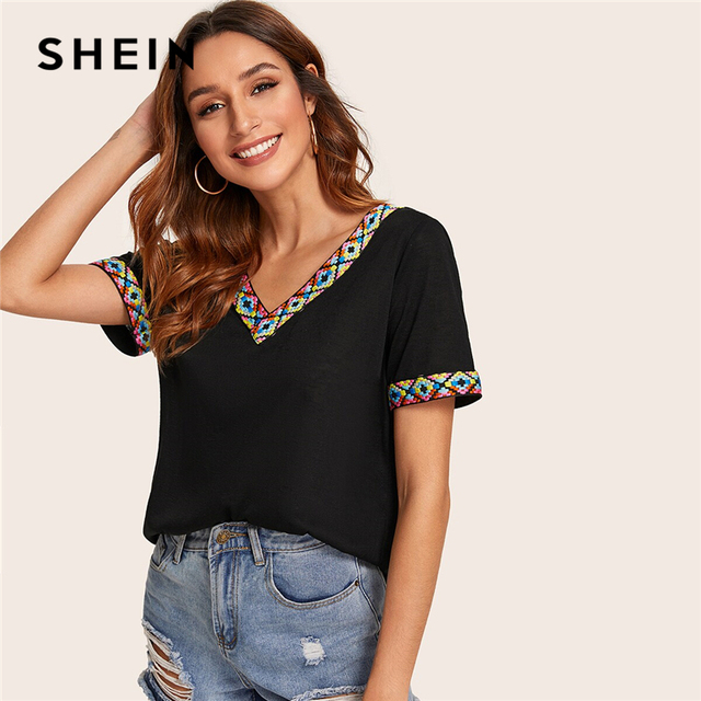 SHEIN Black or White V Neck Aztec Embroidered Tape Trim Tee Short Sleeve T Shirt Women 2019 Summer Soft Boho Casual Tops 3
