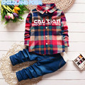 2017 spring baby boys clothes cotton plaid baby boys clothing set gentleman shirt+pant 2 pcs kids baby boy set Toddlers Suits