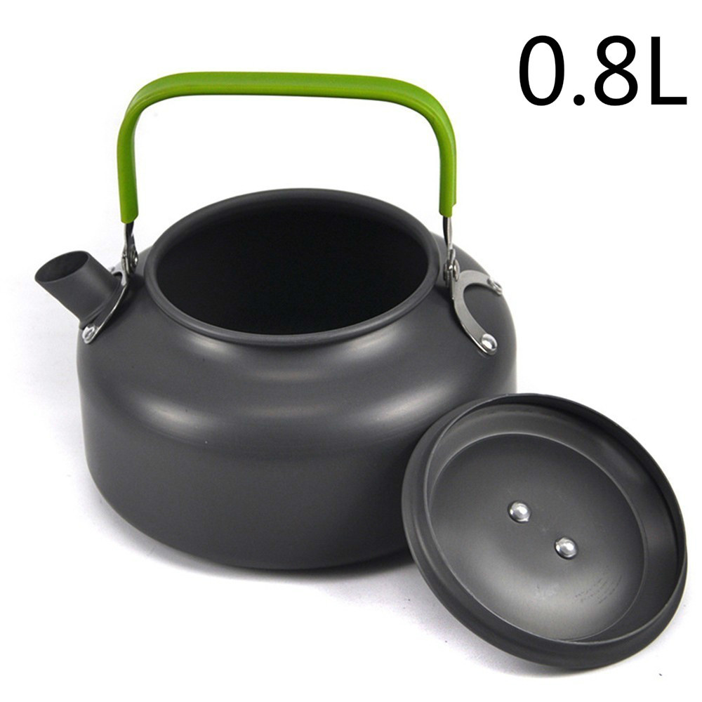 0.8L Camping Hiking Picnic Teapot Pot Outdoor Portable Cookware Mess Kit Carabiner Camping Cookware Stove Pot-in Outdoor Tablewares from Sports & Entertainment