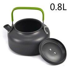 0.8L Camping randonnée pique nique théière Pot en plein air Portable batterie de cuisine Mess Kit mousqueton Camping ustensiles de cuisine poêle Pot