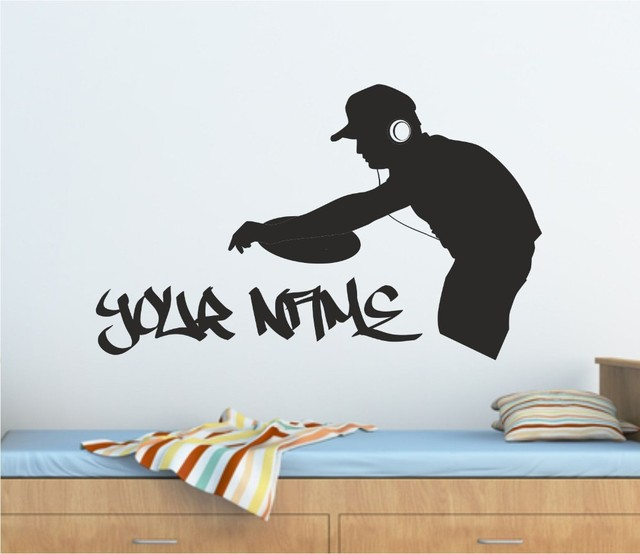 Dj music vinyl wall decal personalised graffiti dj decks music wall art sticker wall decal many