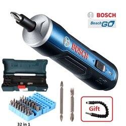 Bosch go mini chave de fenda elétrica 3.6 v bateria de lítio-íon recarregável furadeira sem fio com conjunto de kits de brocas