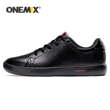 ONEMIX Men Shoes Sneakers 2020 New Casual Soft Leather Skateboarding Shoes Lightweight Jogging Training White Black Tenis Shoes