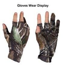 1 Pair Anti Slip Elastic Fishing Gloves Skid proof  Comfortable Nonslip Fingerless Hunting Fishing Camp Gel Glove Camouflage