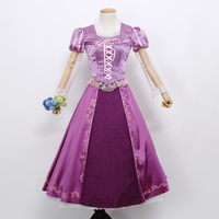 Princess Rapunzel Dress Tangled Adult Cosplay Costume Women Halloween Party Ball Gown