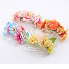 купить Fabric Rose Hair Comb Handmade Wedding Bride Hair Comb Flower Headdress Beach Wedding Hair Accessories for women Beach Photo дешево