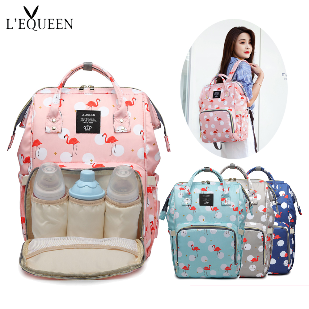 Lequeen 2019 Fashion Mummy Maternity Diaper Bag Backpack Large Capacity Waterproof Nursing Baby Bag Origanizer For Baby Diaper