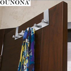 OUNONA Stainless Steel Over the Door Hooks Hanger Rack Clothes for Cloth Pants Hat Towel (6-Hook)