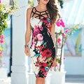 Tofashion 2016 Летний Стиль Дамской одежды Платье Старинные Цветочный Принт Платья Без Рукавов Элегантный Bodycon Платье