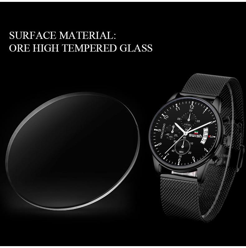 SWISH 2019 Top Brand Luxury Mens Watches Waterproof Stainless Steel Wristwatch Mens Chronograph Casual Quartz Watch
