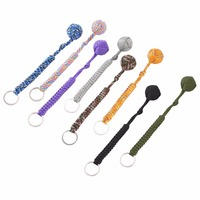 Monkey Fist Steel Ball Outdoor Security Protection Bearing Self Defense Lanyard Survival Tool Key Chain Multifunctional Keychain