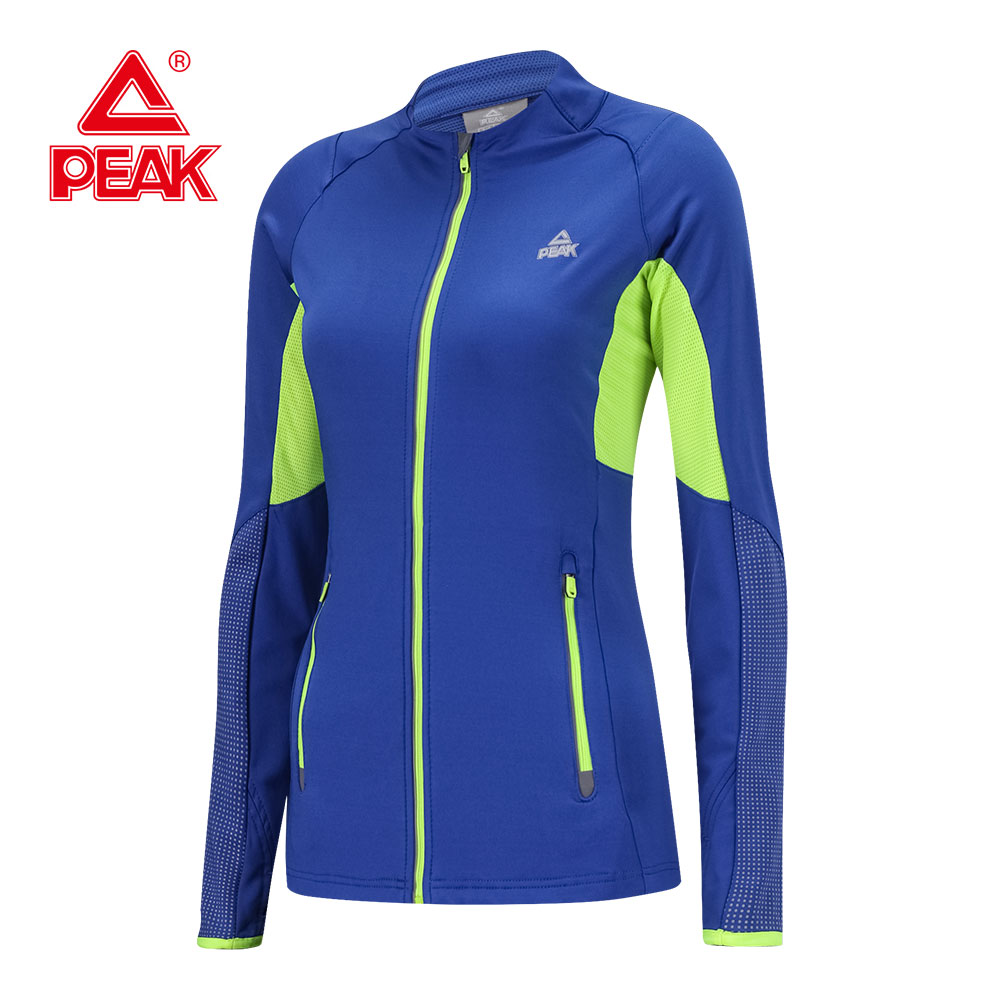 PEAK Women Sport Jacket Long-sleeved Running Jacket Gym Sweatshirt Fitness Zipper Jacket Outerwear Chaqueta Mujer Thumb Hole latest new printed yoga sport jacket women anti sweat nylon running jogger coat elastic fitness jacket top with thumb holes
