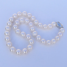 women gift Jewelry Silver Clasp 17INCH AAA 10-11mm Natural south sea perfect round WHITE pearl necklace