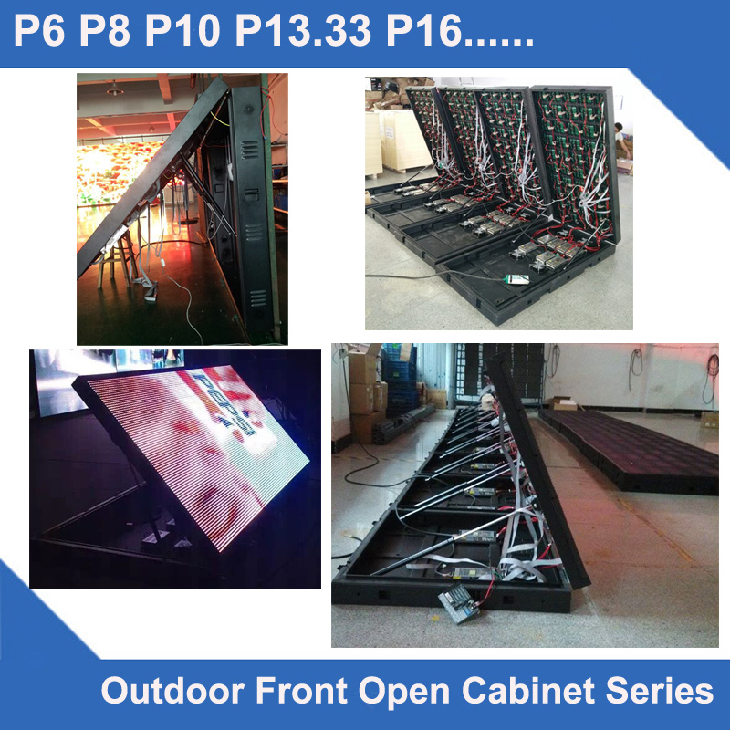TEEHO front open P8 Outdoor led display panel waterproof Cabinet SMD3535 512mm*512mm 64* ...