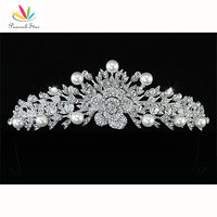 Peacock Star High Quality Bridesmaid Bridal Wedding Pageant Prom Flower Rose Simulated Pearls Tiara CT1450