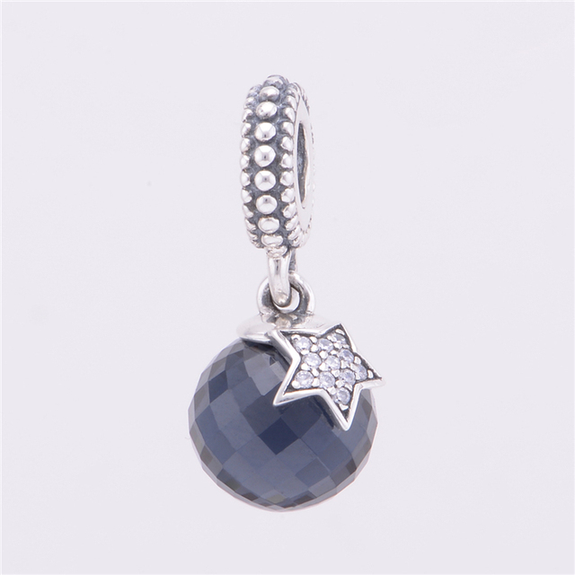14dfd6612 MOON STAR MIDNIGHT BLUE CRYSTAL CLEAR CZ Charm Beads 925 Sterling Silver  Fits Pandora Bracelet Diy