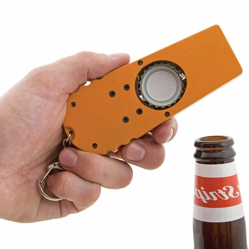 New Kitchen Tool Accessories 2019 1pcs Creative Flying Cap Bottle Opener Cap Launcher Fancy Beer Openers With Key Ring