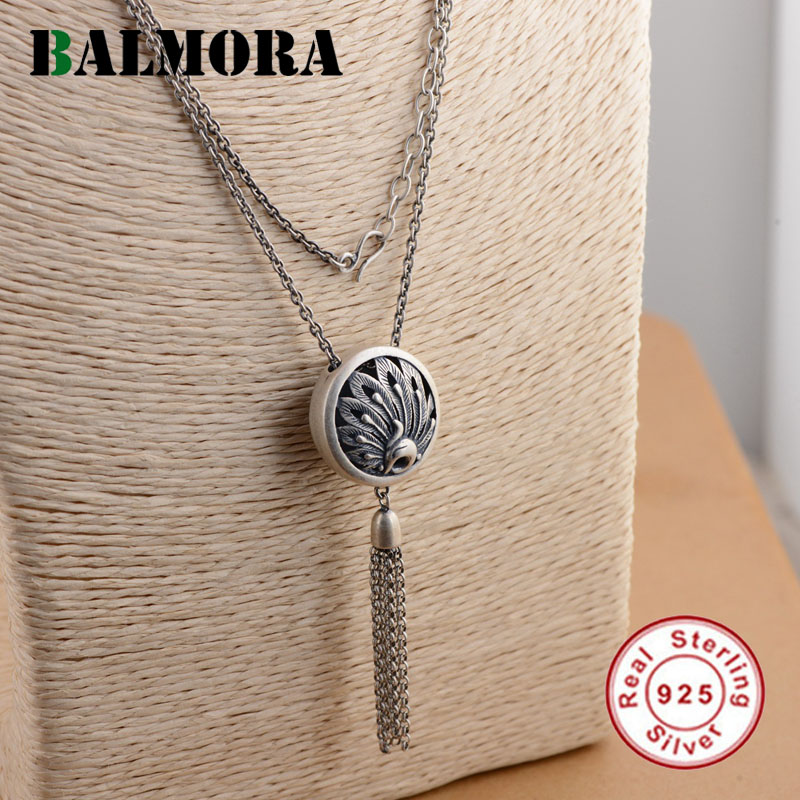 BALMORA Authentic 925 Sterling Silver Peacock Pendant Necklaces for Women Vintage Animal Jewelry Accessories Gifts JLCN80730 eudora authentic 925 sterling silver evil eye pendant necklace vintage retro fashion jewelry for women men party accessories