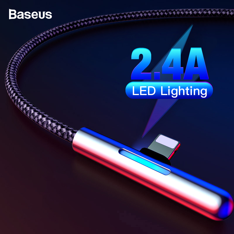 Baseus Colorful Gradual Light USB Cable For iPhone 2.4A Fast Charging Charger Cable For iPhone Xs Max Xr X 8 7 6 iPad Elbow Wire