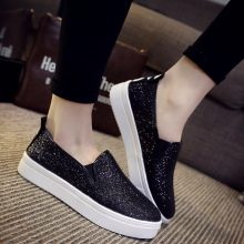 Hot Sale 2016 Spring New Fashion Sequin Platform Loafers Wild Concise Round Toe Woman Flats Black Silver Big Size 36-40 ST233