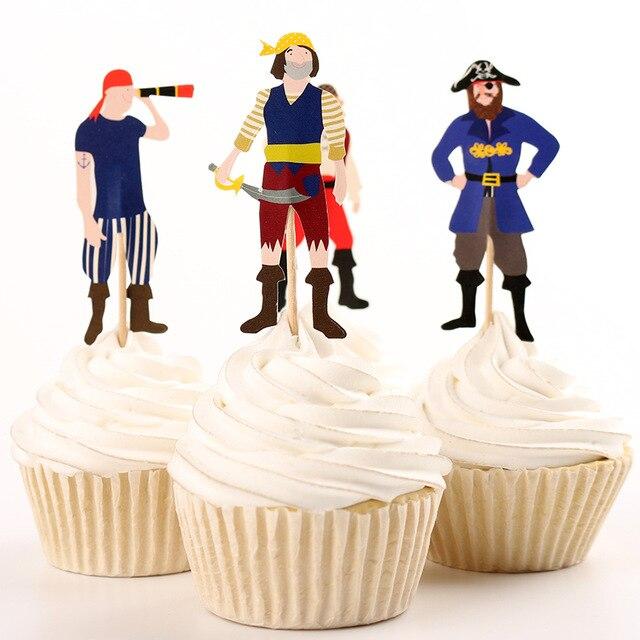 20 Taza De Pirata Personalizado Bandera Pastel Fiesta Cumpleaños Decoración Topper De Alimentos Pick