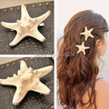 2016 Hot New Trendy Natural Headwear Big Starfish Pattern Women Beach Holiday S/L Hair Barrettes Head Decoration FreeShipping