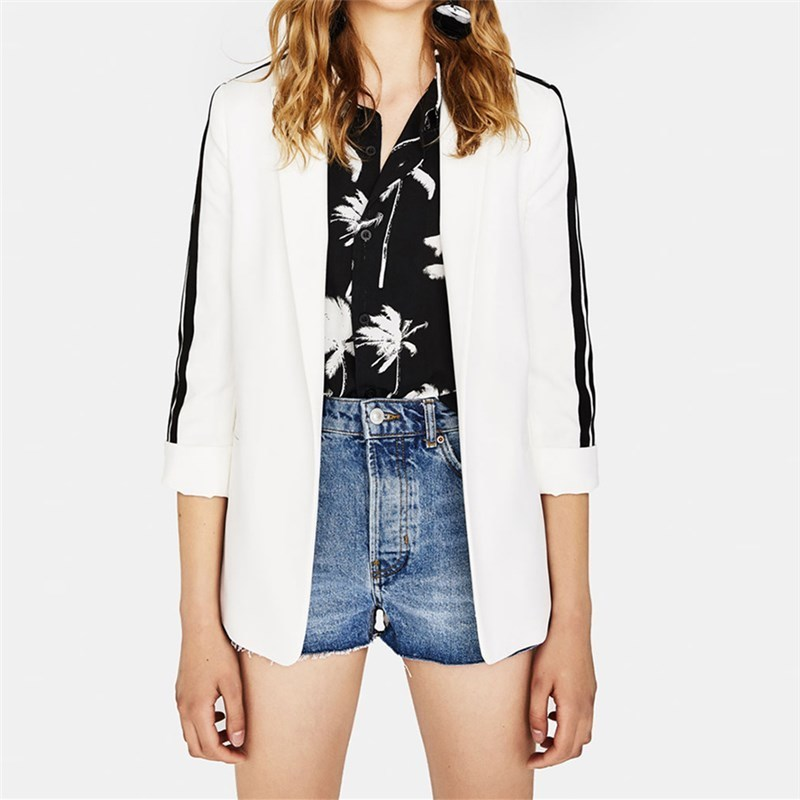 Spring Autumn Western Style Fashion Slim Contrast Color No Button Three Quarter Sleeve SML XL XXL 2 Colors Notched Woman Blazers