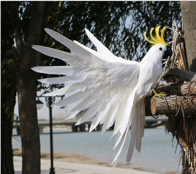 large 35x45cm white feathers parrot Handmade model spreading wings feathers cockatoo stage prop home garden decoration