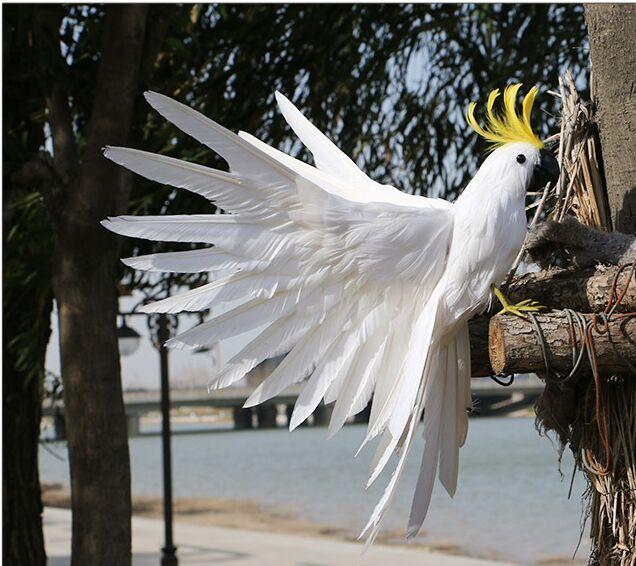 Grand perroquet plumes blanches 35x45 cm, modèle fait à la main, ailes écartantes plumes cockatoo scène prop, maison jardin décoration jouet w0888