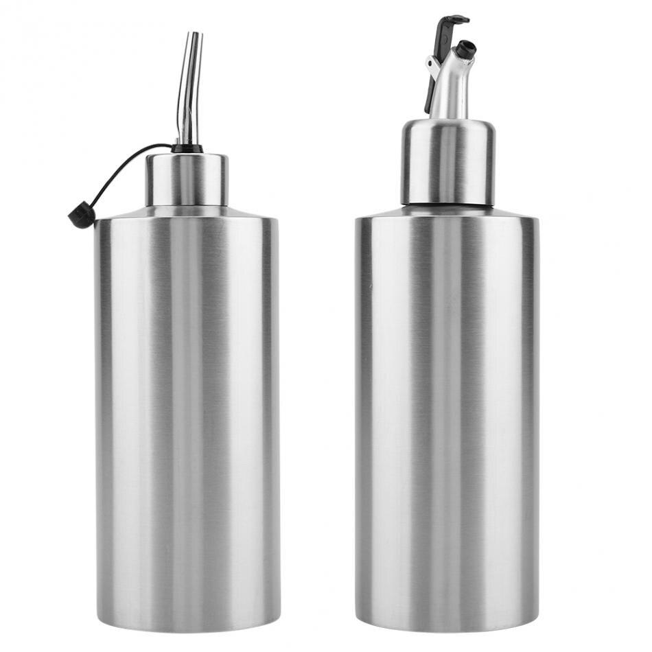 Dispenser di olio da 300 ml sauce Come da immagine per cucina e vino salse contenitore per bottiglia di aceto di oliva in acciaio inox trasparente a prova di perdite olio