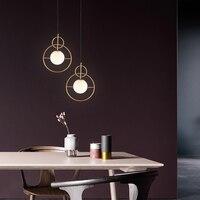 Nordic Postmodern Fashion Iron Glass Ball LED Pendant Lights Designer Simple Living Room Bedroom Decorate Hanging Lamp Fixture
